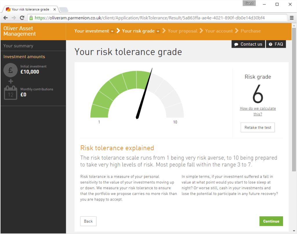 Your risk tolerance grade