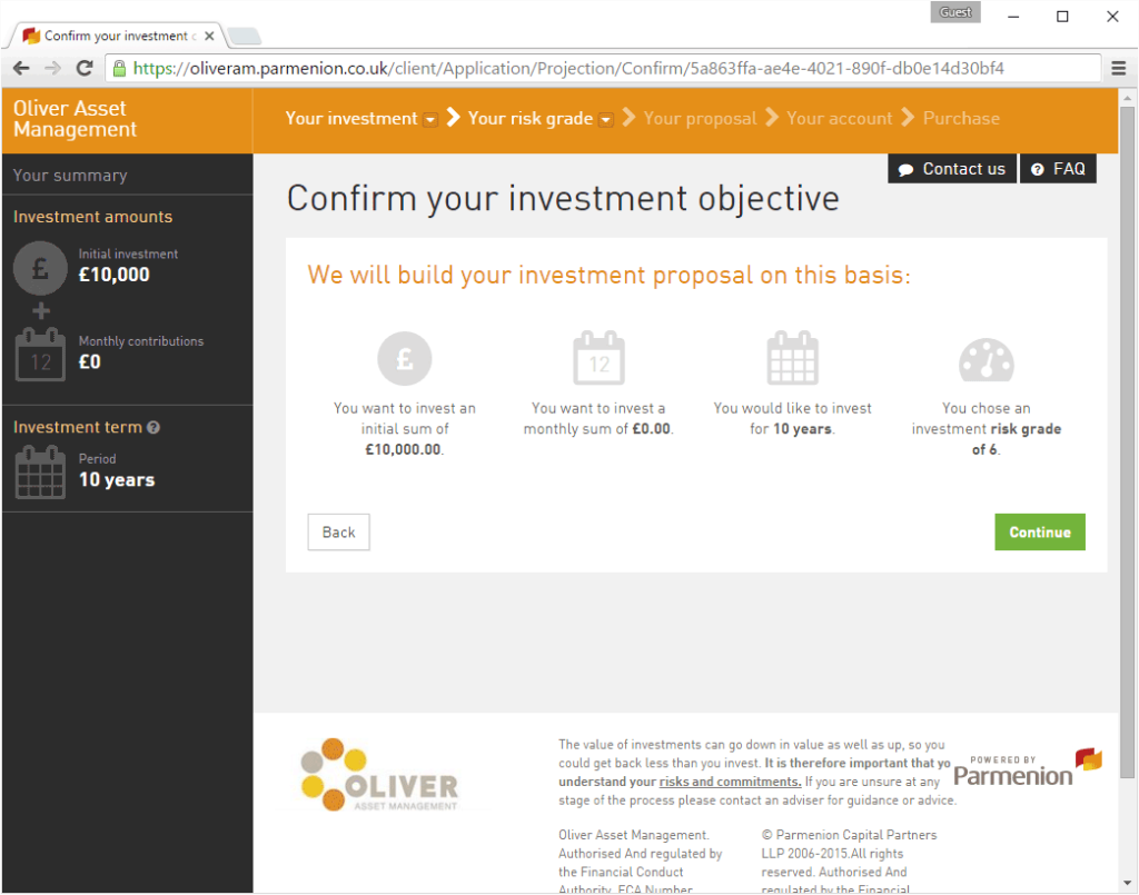 Confirm your Investment objective