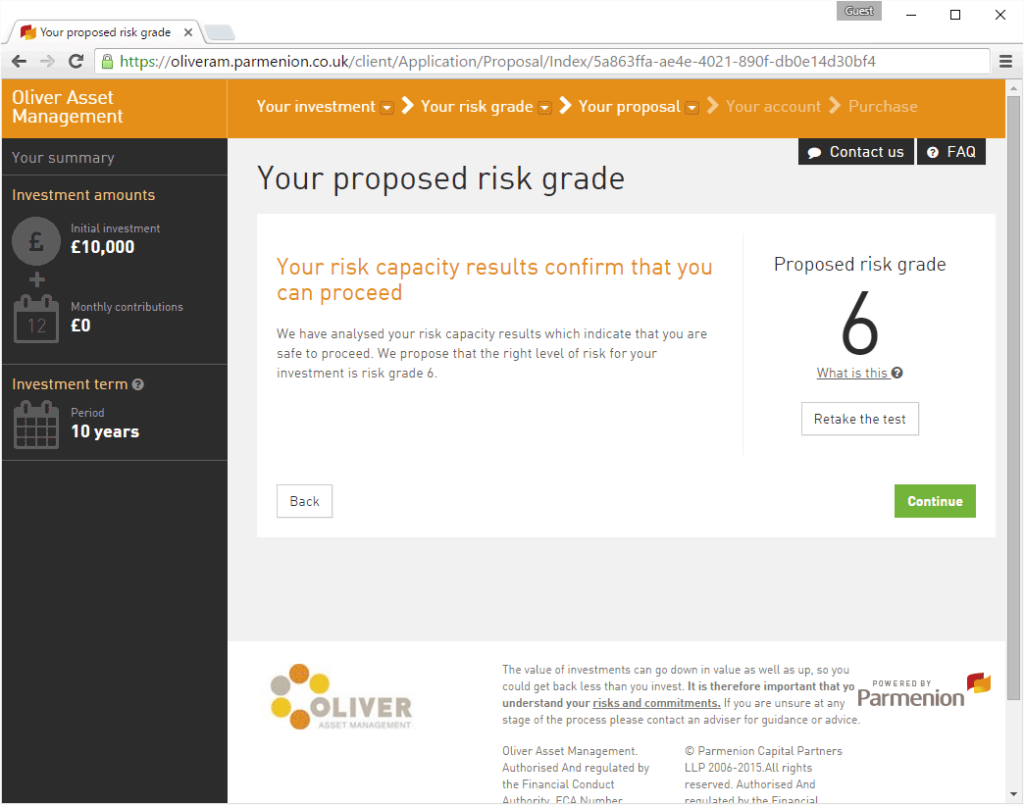 Your Proposed risk grade